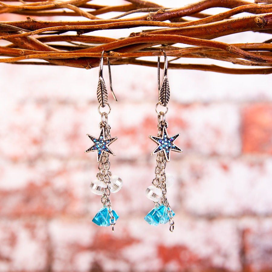 earrings, dangle earrings, stars, rhinestones, blue, jewellery, jewelry. accessories, fashion