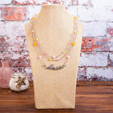 handmade, necklace, signed, pink, yellow, spring, birds, nature, jewellery, jewelry, accessories, silver tone metal