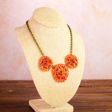 necklace, handmade, original, skulls, orange, jewellery, jewelry, accessories