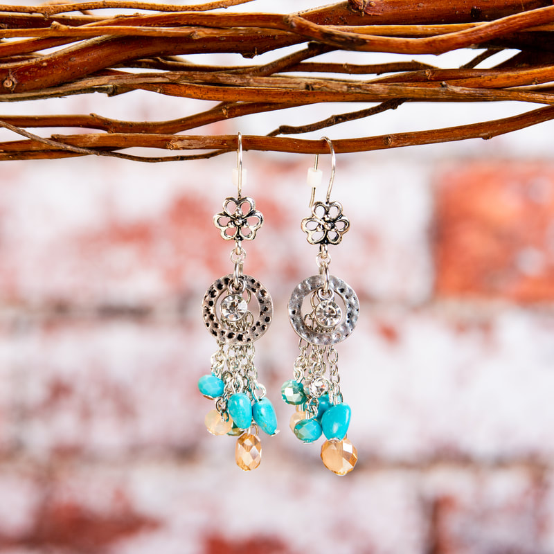 handmade, earrings, turquoise, silver, glass beads, hearts, jewellery, jewelry, accessories, original