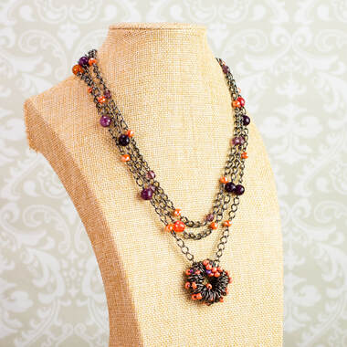signed necklace, necklace, multi strand, hand made pendant, gun metal, purple glass beads, purple beads, signed necklace