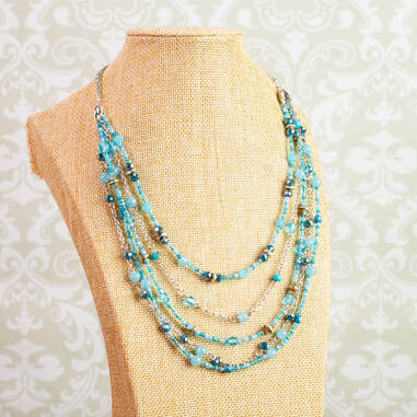 signed necklace, necklace, multi strand, blue glass beads, blue agate, silver chain