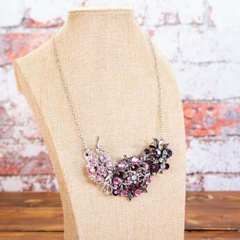 handmade necklace, up cycled necklace, rhinestone necklace, pink necklace, purple necklace, jewellery, jewelry, accessories
