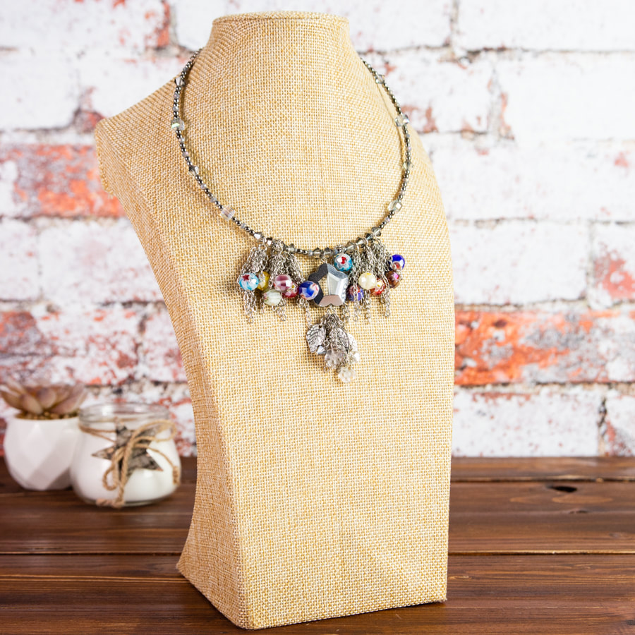 handmade, necklace, choker, silver tone metal, multi coloured, silver glass beads, jewellery, jewelry, accessories, original, beads