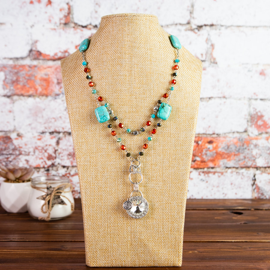handmade, necklace, siver tone pendant, turquoise, bronze glass, jewellery, jewels, accessories, original, beads, silver tone